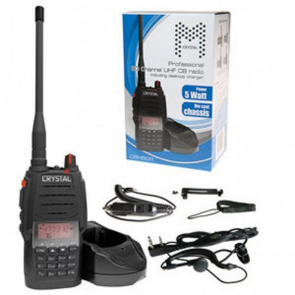 Crystal Mobile DBH50R 5W Rechargeable Handheld UHF CB Radio (Single Unit)