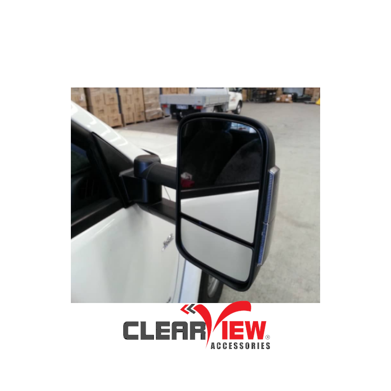 Clearview CV-HI-DC-IEB Towing Mirrors for Holden Colorado & Rodeo [Electric; Indicators; Black]