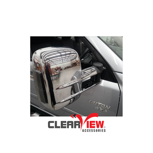 Clearview CV-MB-TC-IEC Towing Mirrors for Mitsubishi Triton & Challenger [Indicators; Electric; Chrome]