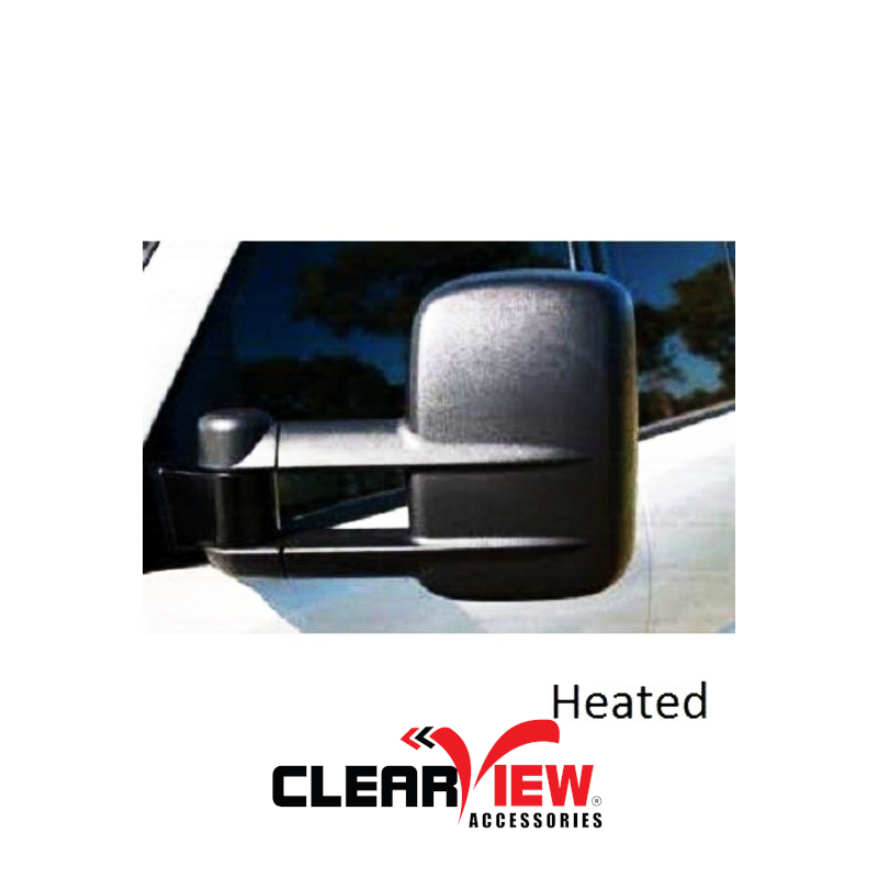 Clearview CV-NN-NP300-HEB Towing Mirrors for Nissan Navara NP300 [Heated; Electric; Black]
