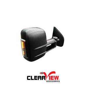 Clearview CV-TH-SR-IEB Towing Mirrors for Toyota Hilux [Indicators; Electric; Black]