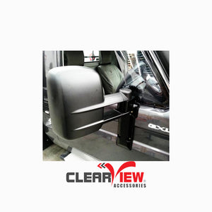 Clearview CV-TL-70S-WFKIEB Towing Mirrors for Toyota Landcruiser 70 Series [Powerfold; Electric, Indicators, Black]
