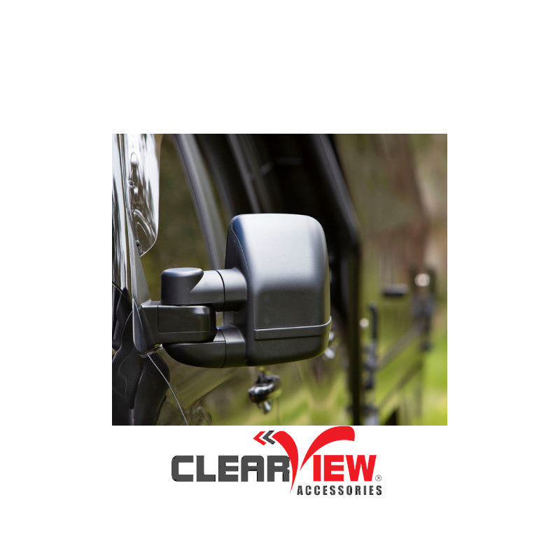 Clearview CVNG-FD-EV-HIEB Towing Mirrors [Next Gen; Pair; Heated; Multi-Signal Module; Electric; Black] - Ford Everest
