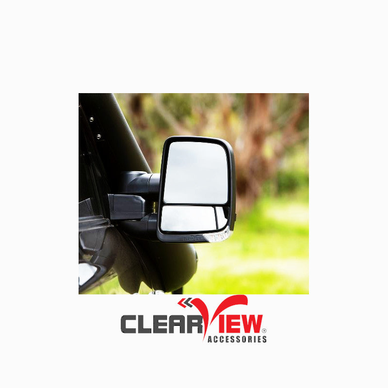 Clearview CVNG-TL-80S-MB Towing Mirrors [Next Gen; Pair; Electric; Black] - Toyota Prado 120 Series