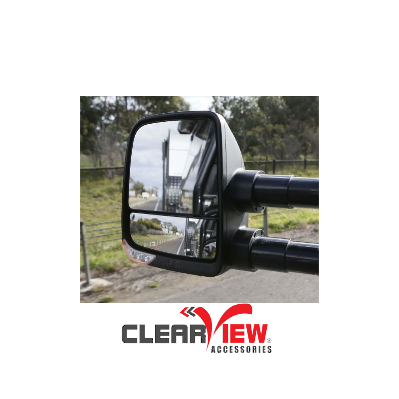 Clearview CVNG-TL-200S-FEB Towing Mirrors [Next Gen; Pair; Powerfold; Electric; Black] - Toyota Landcruiser 200 Series