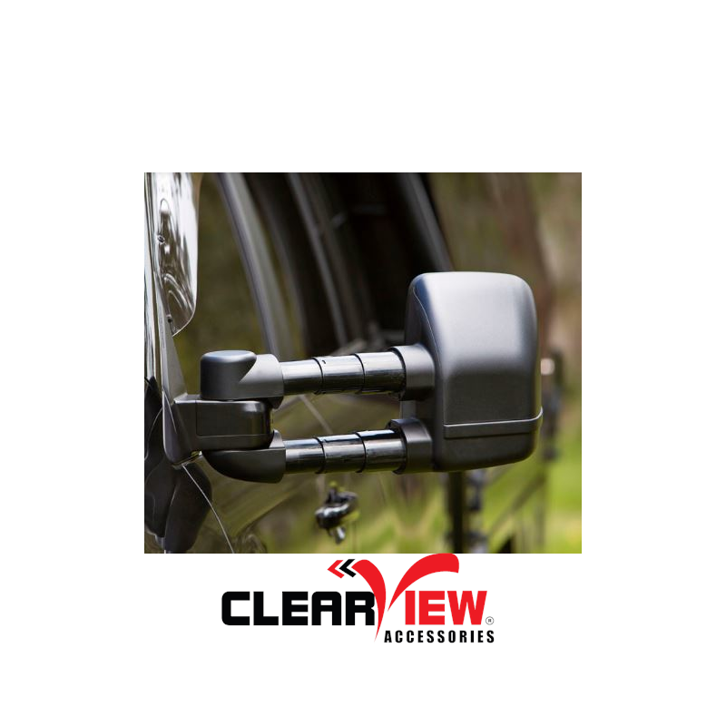 Clearview CVNG-TP-150S-HFSIEB Towing Mirrors for Toyota Prado 150 Series [Next Gen; Pair; Heated; Power-Fold; BSM; Multi-Signal Module; Electric; Black]