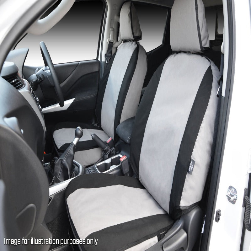 MSA VWA06 Volkswagen Amarok / MY17 V6 Ultimate Front Twin Buckets Seat Cover, Leather Seats, Electric Lumbar Support, Driver & Passenger Electrics, Pull Out Seat Base inc. Console Cover & Integrated Lumbar Support (AIRBAG SEATS)