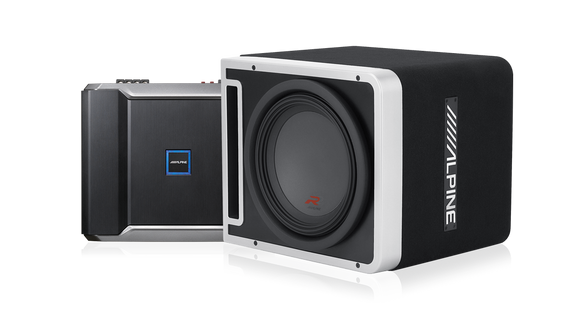 Alpine R-201203 R-Series Mono Amplifier and R-Series 12″ Halo Subwoofer with ProLink™