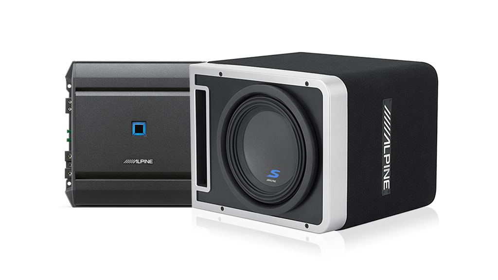 Alpine S-201203 S-Series Mono Amplifier and S-Series 10″ Halo Subwoofer with ProLink™