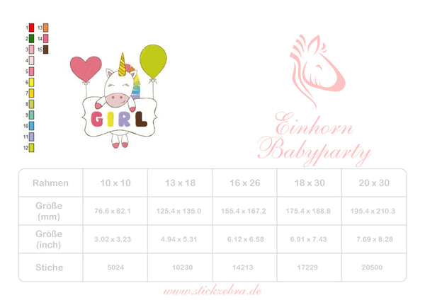 Einhorn Babyparty - StickZebra