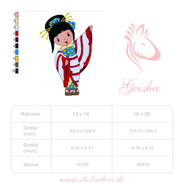 Geisha Welcome Stickdatei - StickZebra