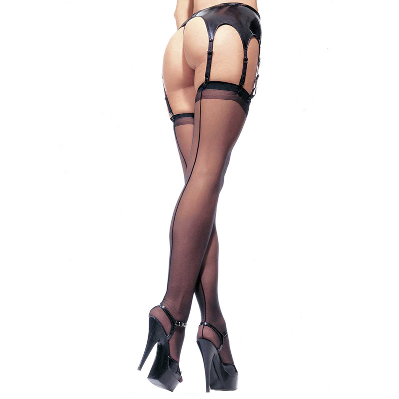Leg Avenue Sheer Stockings Black UK 8 to 14 - So Seductive