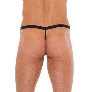 Mens Black GString With Red Elephant Animal Pouch
