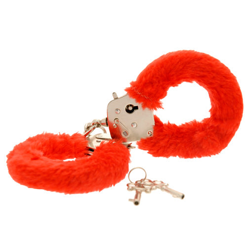 Toy Joy Furry Fun Hand Cuffs Red Plush - So Seductive