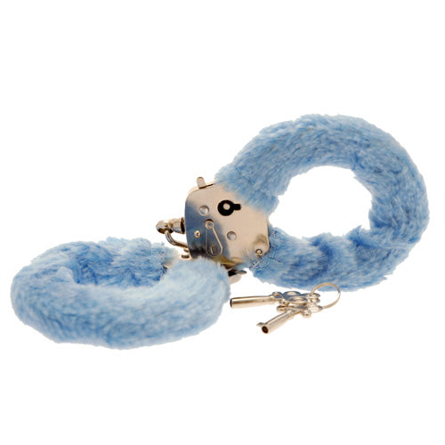Toy Joy Furry Fun Hand Cuffs Pale Blue Plush - So Seductive