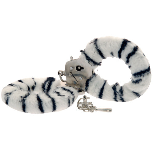 Toy Joy Furry Fun Hand Cuffs Zebra Plush - So Seductive