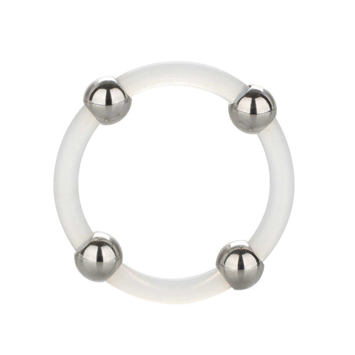 Steel Beaded Silicone Ring Large