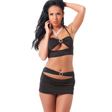 Load image into Gallery viewer, Black Mini Skirt And Crop Top UK Size 8 to 12 - So Seductive