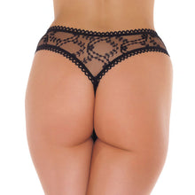 Load image into Gallery viewer, Sheer Pattern Crotchless Black GString - So Seductive
