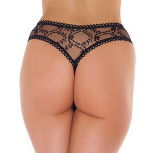 Sheer Pattern Crotchless Black GString - So Seductive