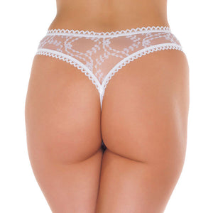 Sheer Pattern Crotchless White GString - So Seductive