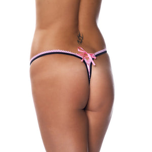 Black And Pink Ribbon GString