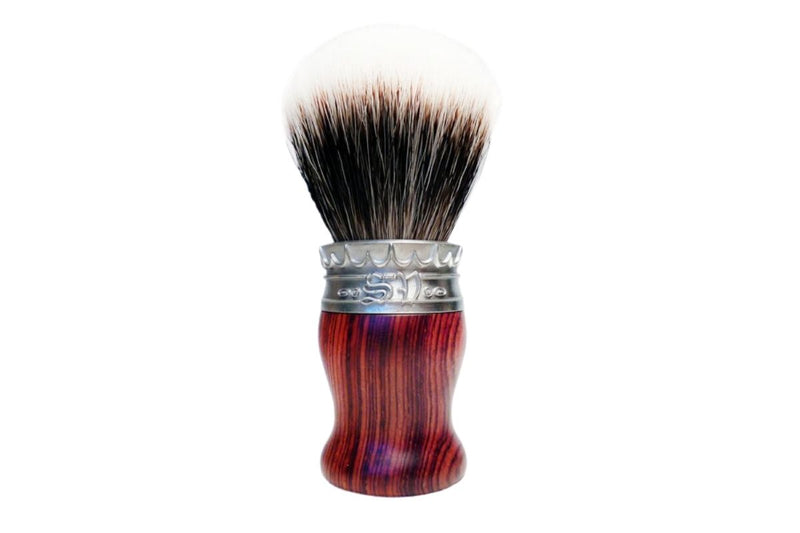 Real Cocobolo Wood Shave Brush with Manchurian White Badger