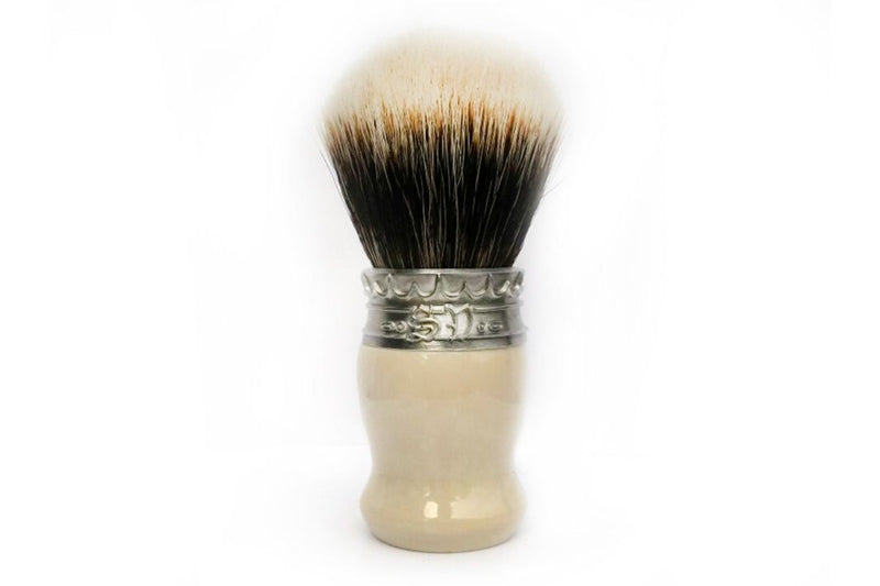 Faux Ivory Resin Shave Brush with Manchurian White Badger