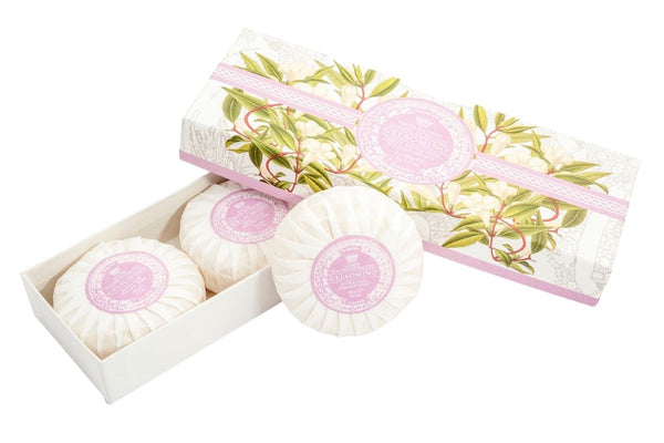 Jasmine Round Soap Plisse Boxed 3-Piece Set.