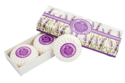 Lavender Round Soap Plisse Boxed 3-Piece Set.