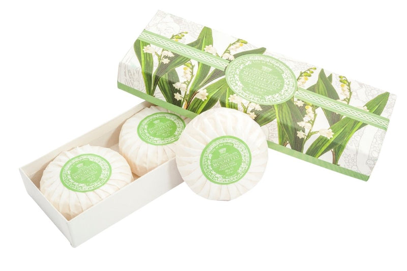 Lily of the Valley Round Soap Plisse Boxed 3-Piece Set.