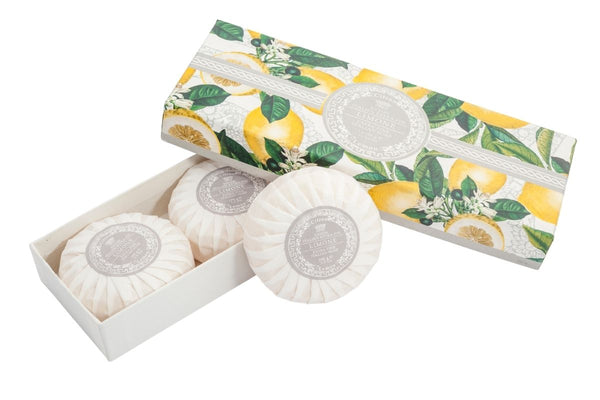 Lemon Round Soap Plisse Boxed 3-Piece Set.