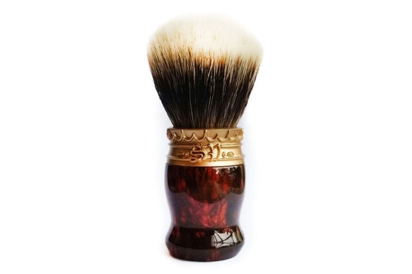 Faux Tortoise Shell Resin Shave Brush with Manchurian White Badger