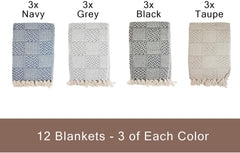 Pack of 12 Common Threads Cotton Throw Blankets - 50 x 70 Inch - Assorted Colors - Design Options