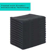 Antimicrobial Treated Microfiber Bleach Safe Salon Towels Pack of 12 - Bleach Proof, Bleach Free, Bleach Resistant Towels (16x27 inch, Black)
