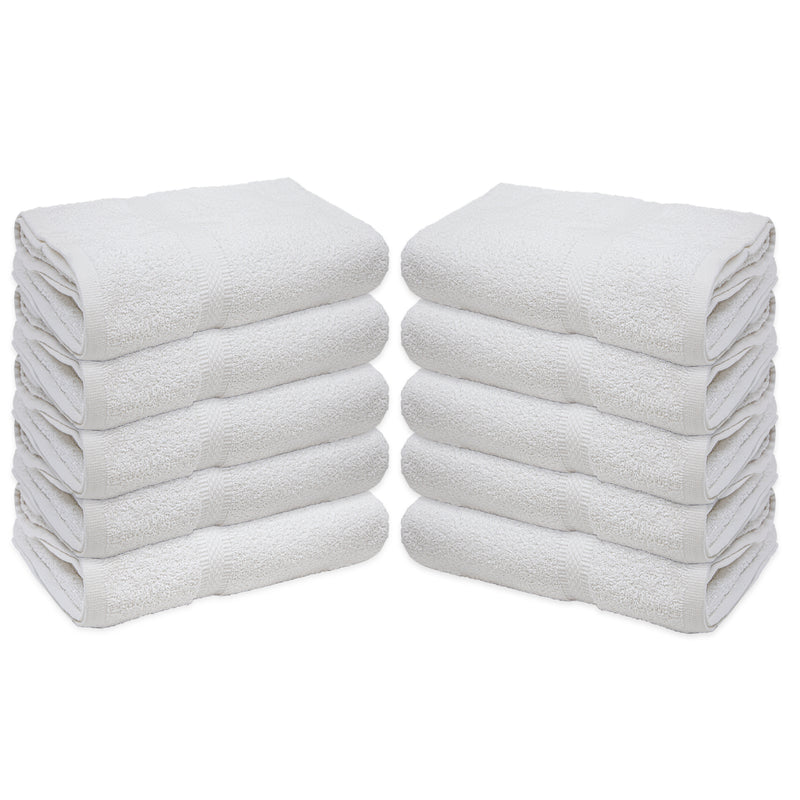 Medium Weight Admiral Bath Towels - Set of 12, White, Ring-Spun Cotton, Size Options