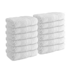 12 Pack of Admiral White Hand Towels for Bathrooms - Size & Border Options