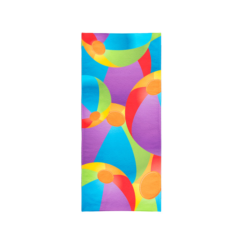 Printed Velour Beach Towel - 30 x 60 - Beach Ball Design
