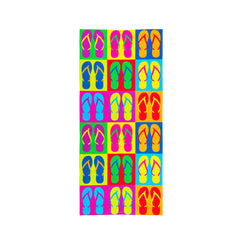 Printed Velour Beach Towel - 30 x 60 - Flip Flops Design