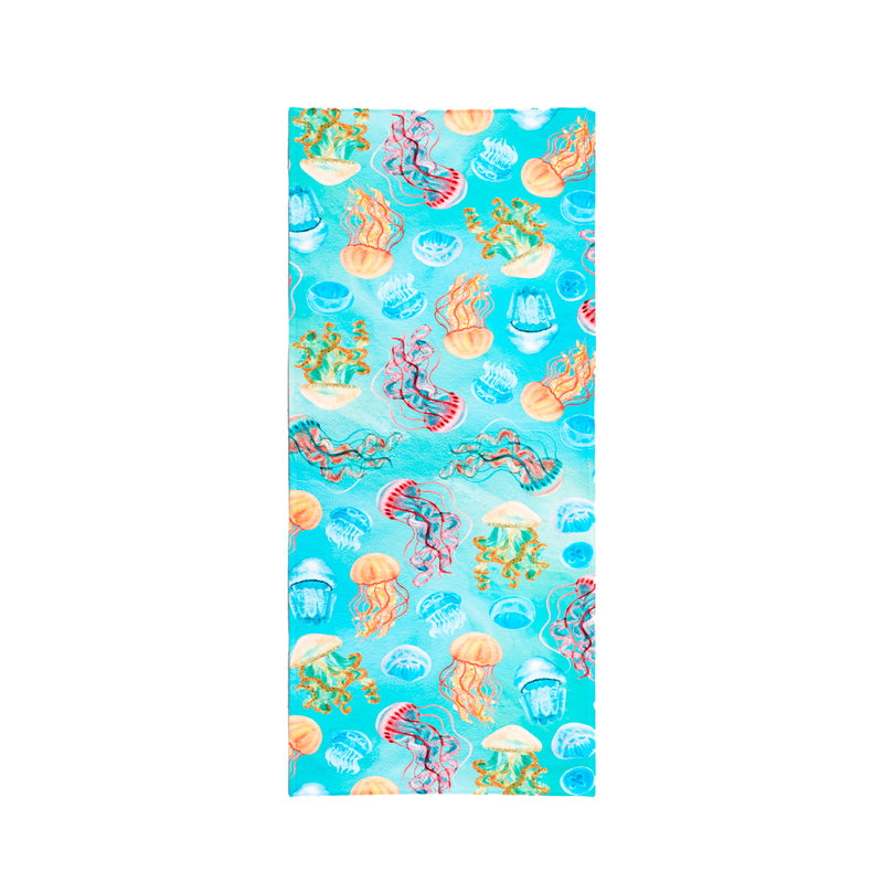Printed Velour Beach Towel - 30 x 60 - Jellyfish Design
