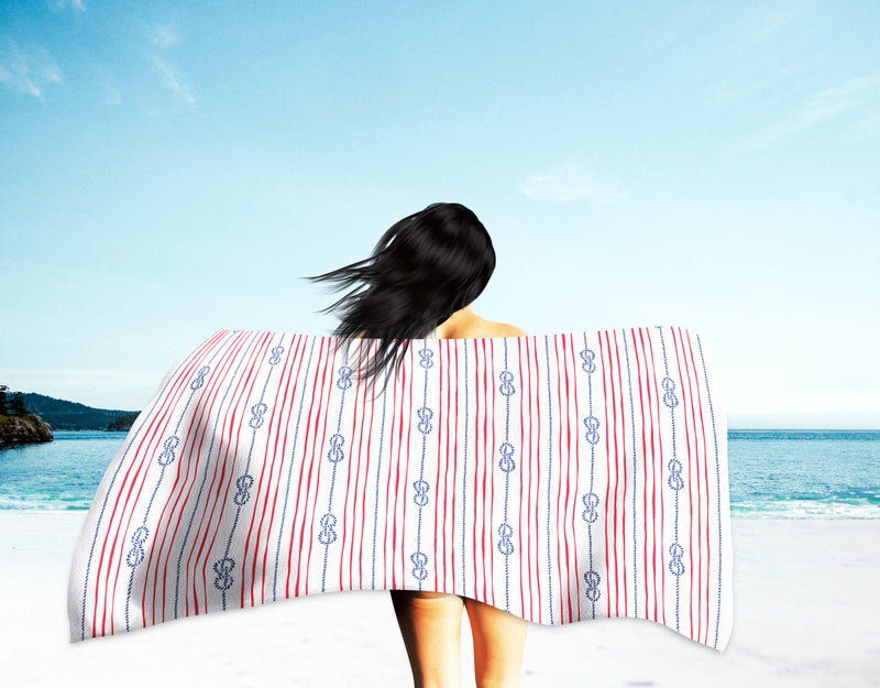 Printed Velour Beach Towel - 30 x 60 - Knots Design