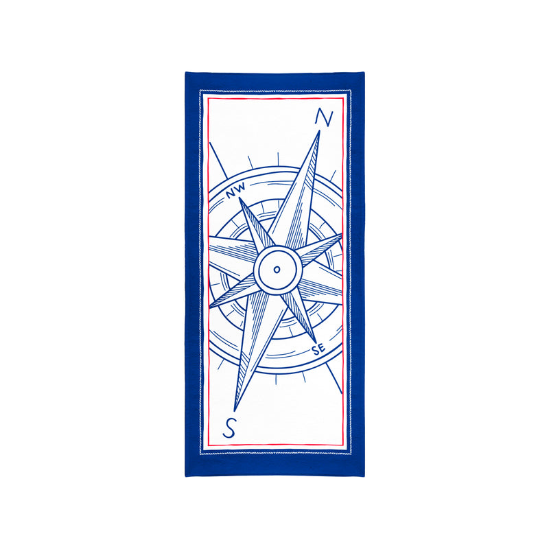 Printed Velour Beach Towel - 30 x 60 - Compass Blue Border Design