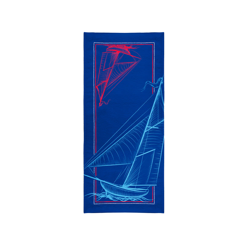 Printed Velour Beach Towel - 30 x 60 - Sailboat Design