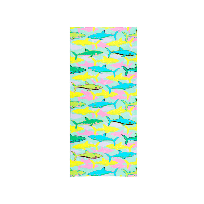 Printed Velour Beach Towel - 30 x 60 - Shark Design