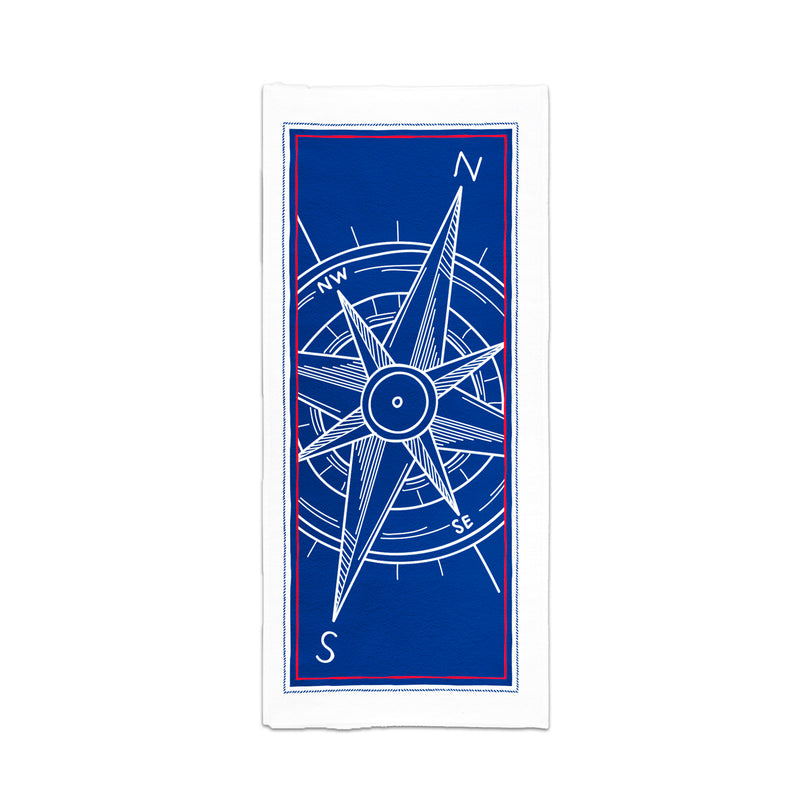 Printed Velour Beach Towel - 30 x 60 - Compass White Border Design