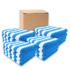Case of 24 California Cabana Towels - 30 x 70 - Striped Color Options - 100% Cotton