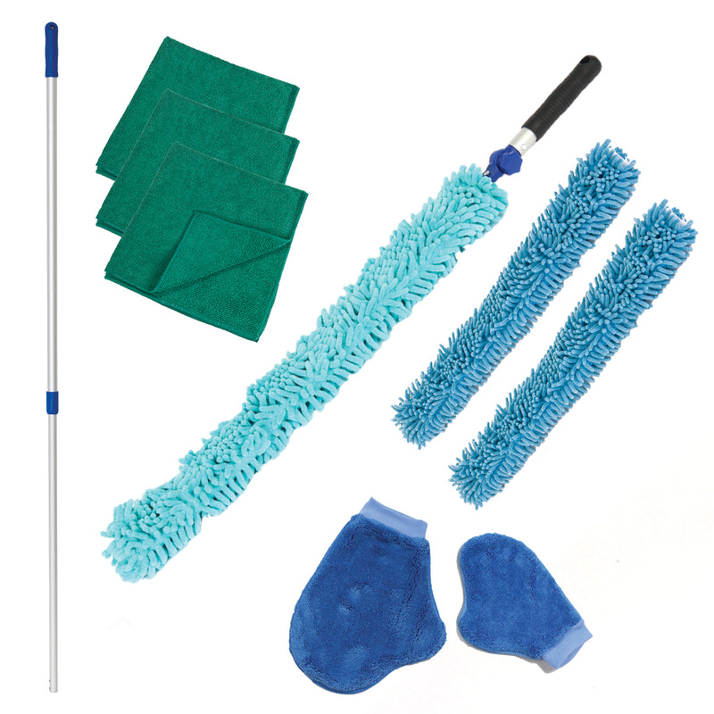 Arkwright Dusting Kit, 1 Extension Telescoping Pole, 3 Chenille Duster Covers, 3 Microfiber Cloths, 2 Dusting Mitts (5 Pieces)