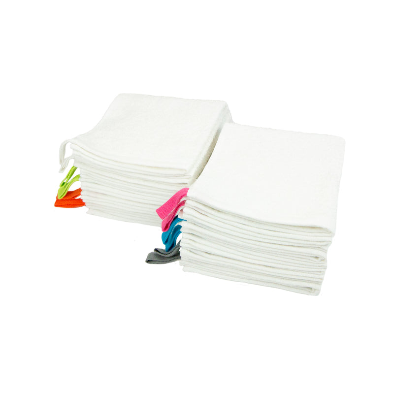 12 Pack of Cotton Washcloths - White with Colored Loops - 12 x 12