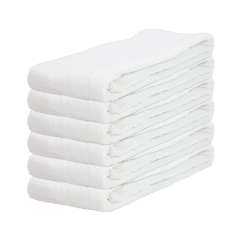 Set of 6 Flour Sack Kitchen Towels: 100% Cotton, White, 36 x 36