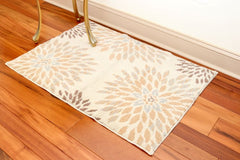 Artistry Area Rug - Floral Design - 27 x 45 in- Microfiber Material w/ Skid-Resistant Backing